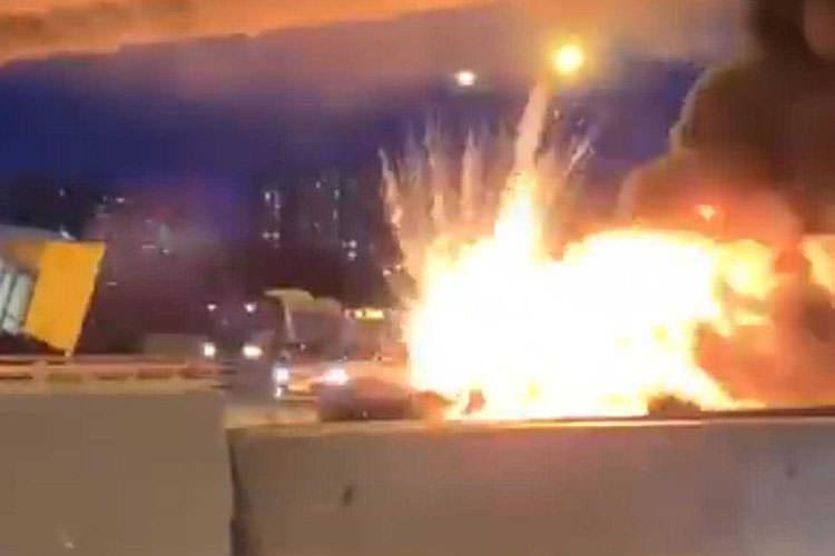 آتش گرفتن تسلا مدل 3