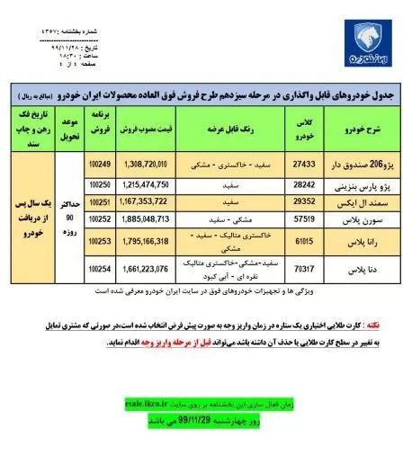 شرایط فروش ایران خودرو بهمن 99